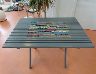Décors personnalisés table de jardin après transformation
