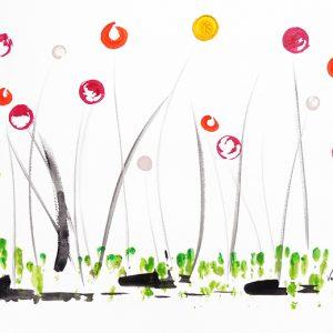 Peinture sur papier 'La douceur du vent'