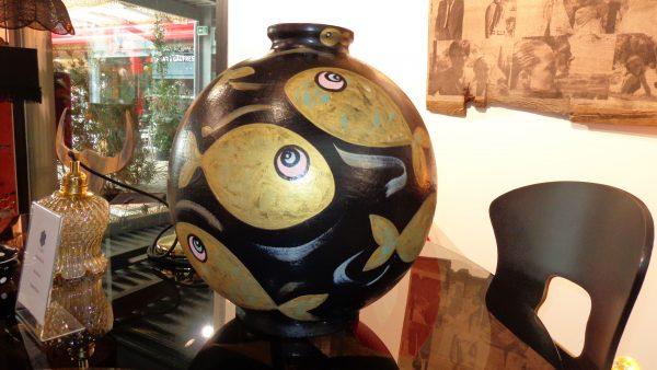 Peinture originale Vase Céramique 'Gold fish'