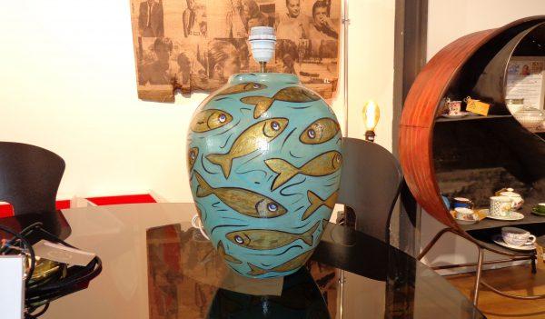 Peinture originale Lampe 'Wonderful fishing'