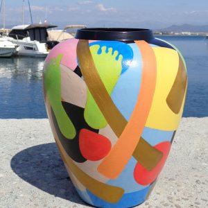 Peinture originale Céramique Vase 'Tam Tam'