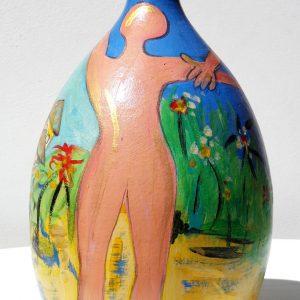 L'Union Vase Peinture originale Terre