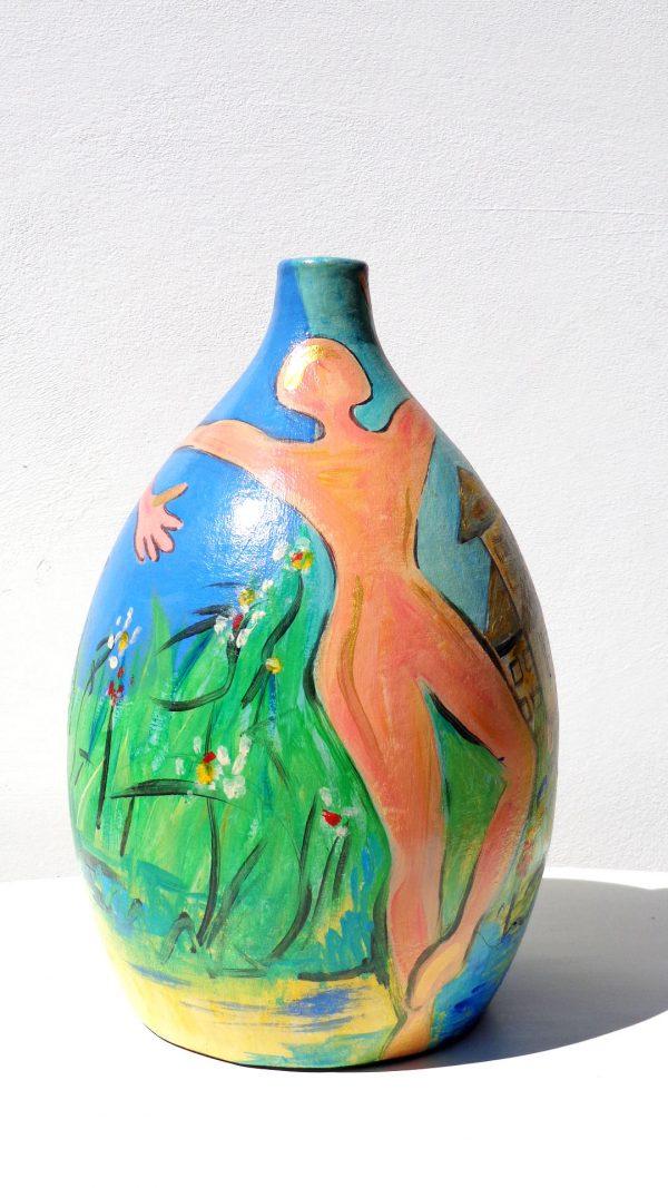 L'Union Vase Peinture originale Terre cuite