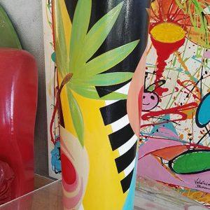 Céramique 'Safari' vase peinture originale